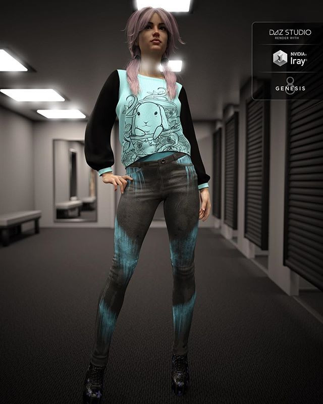 3d render of a young woman wearing a jumper with rabbit design and black acid wash jeans