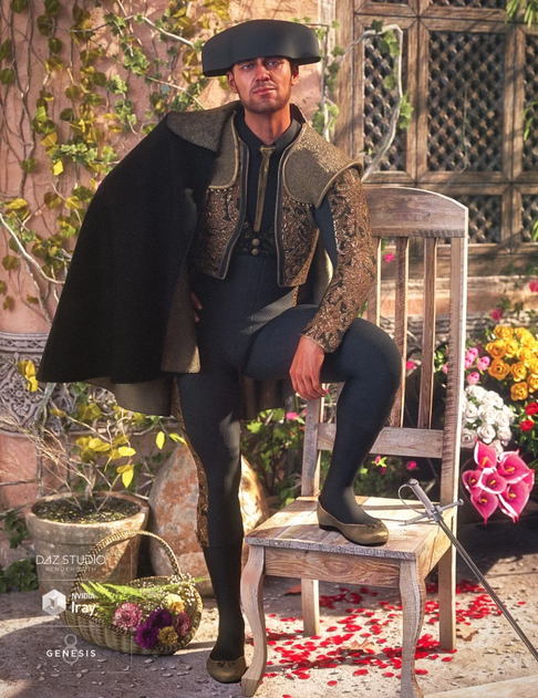 Image shows man dressed in traditional dForce Matador Outfit for Genesis 8 Male(s) from Daz3D, with one foot on a chair, standing in a beautiful Mediterranean garden.