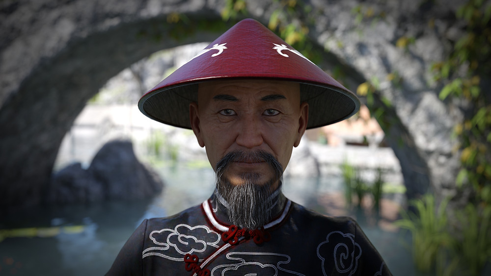 Daz3D Original image showing Mr Woo 8 character - showing an elderly Asian man wearing traditional Asian clothes and hat.