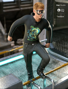 Image shows young man wearing the Daz3D Gruesome Goth Outfit for Genesis 8 Male, whilst climbing on a rail.