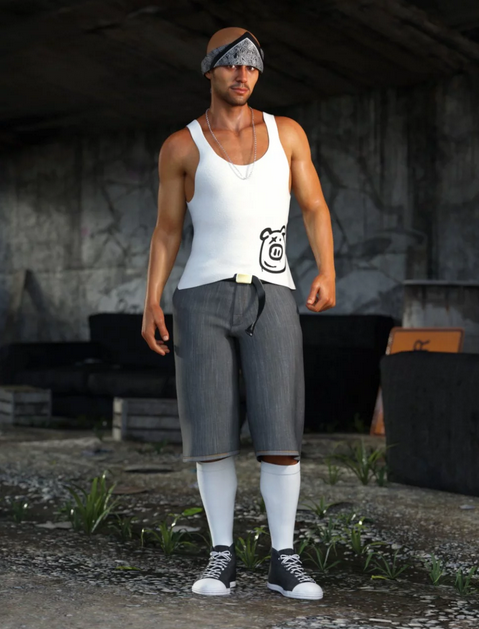 Image shows man dressed in white vest top, grey knee-length shorts, white knee-high socks and black and white trainers (Street Smarts Outfit from Daz3D) and standing in an urban underpass.