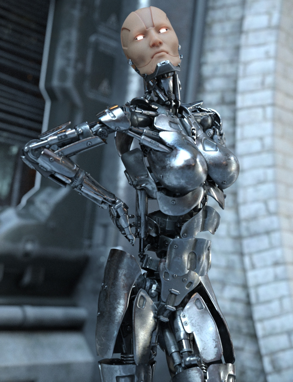 Female cyborg with new silver body armour with hands behind back in arched pose, with skin texture on face and glowing eyes