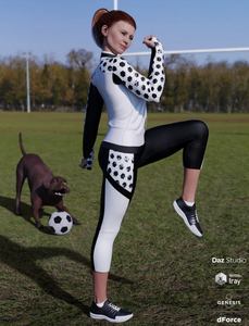Image shows a Daz3D woman wearing a black and white sporting outfit (dForce Soccer Mom Outfit), standing on a field with a dog and a football.