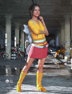 Image shows girl wearing Renardeau Outfit for Genesis 8 Female in gritty underground car park setting