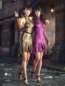 Daz3D dForce Fitted Drop Waist Dress for Genesis 8 Dressy Textures - showing two girls wearing gold and purple evening dresses. matching heels and enjoying a night on the town, heading to a party