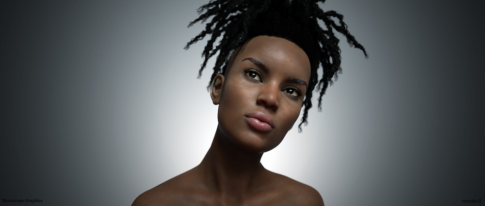 Monique 8 by Daz3D wearing Shaved Sides Dreads by Samsil
