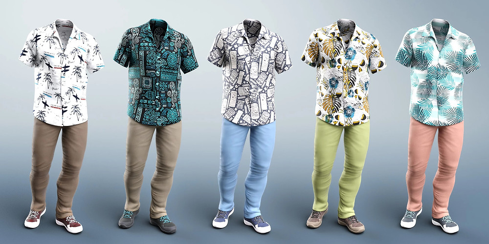 image shows a line up of 3d outfit previews. The outfit is a relaxed jeans and Hawaiian shirt combo. The outfit on show is Party Oahu Outfit from Daz3D