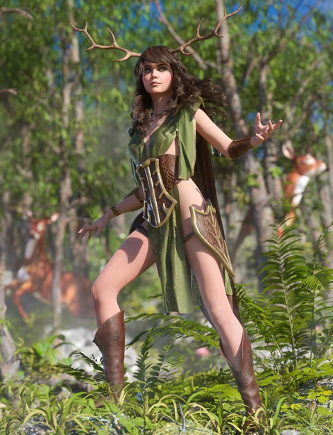 Image shows a woodland fawn in a woodland setting and wearing the dForce Wood Warden outfit for Genesis 8 Female(s) by Moonscape Graphics for Daz3D.