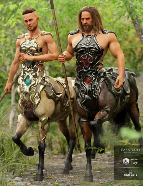 Image shows two male centaurs wearing the Daz3D Forest Marauder Outfit Textures by Moonscape Graphics for Centaur Male 8.