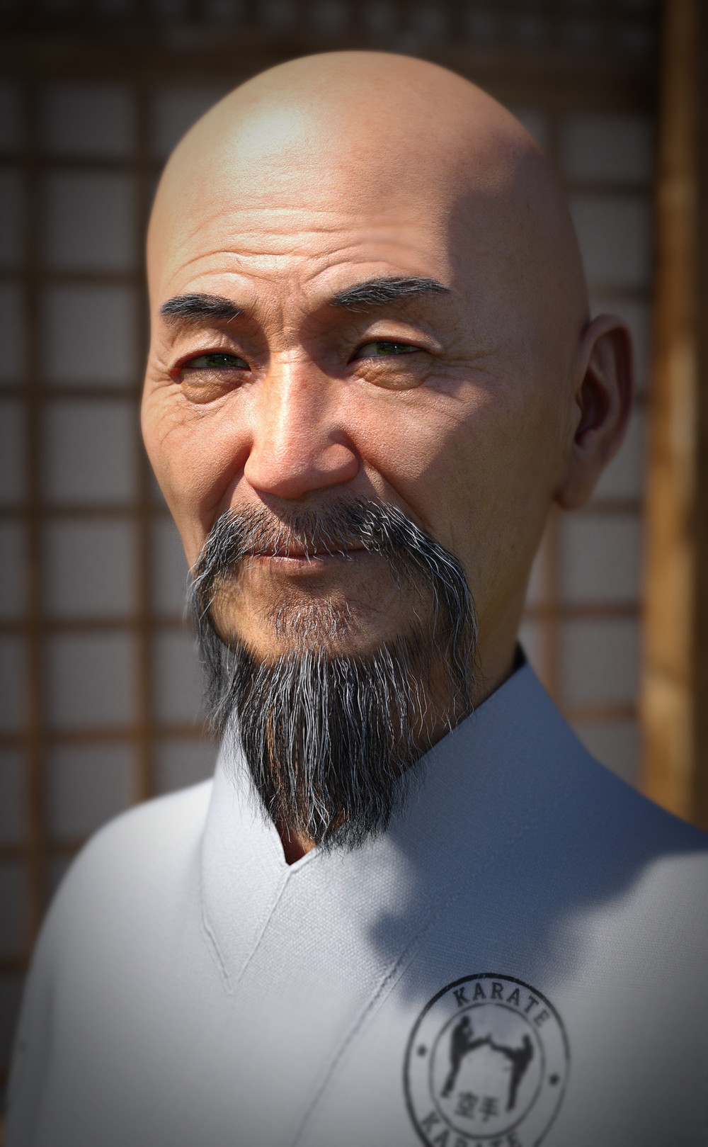 Daz3D Original featuring textures by Moonscape Graphics for Martial Arts outfit for Genesis 8. Image shows close up of an older Asian gentleman wearing Karate Gi.
