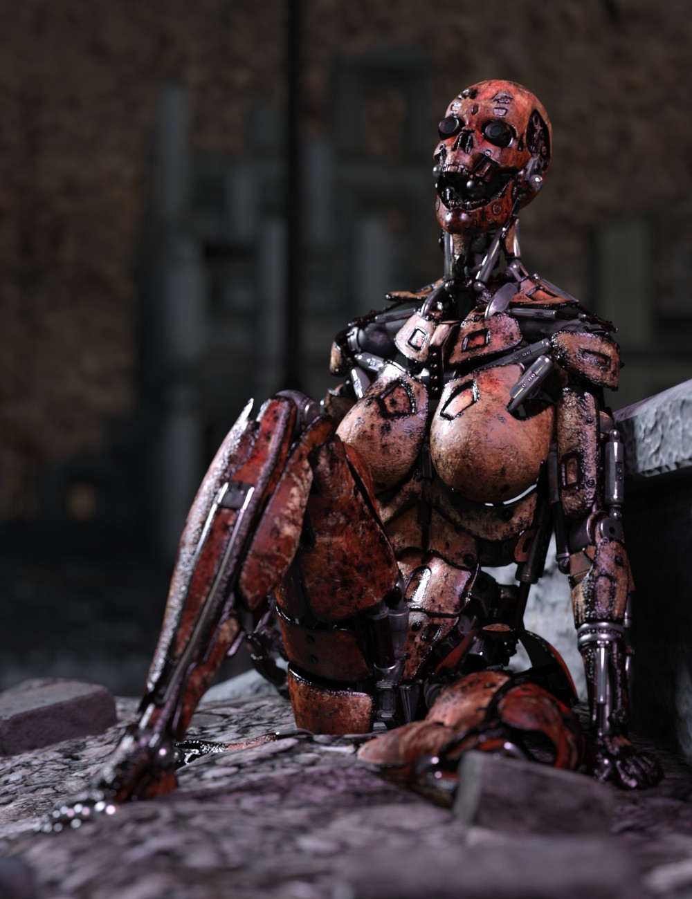 Sitting cyborg woman with charred red texture