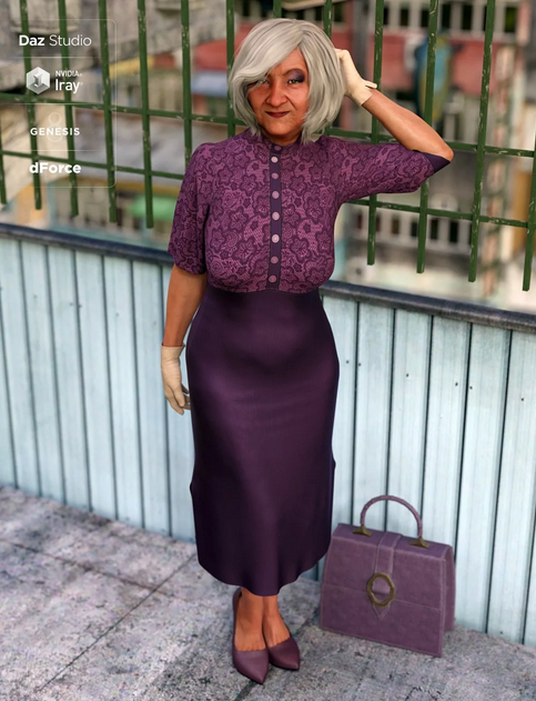 Mrs Chow 8 Character: Asian woman in purple smart evening dress, with grey hair, gloves, a purple bag and matching heeled shoes