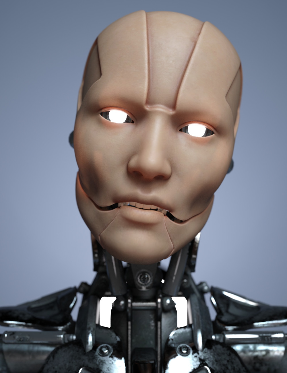Image showing female cyborg head with skin texture on face and glowing white eyes