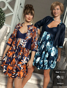 Image shows two women wearing the Daz3D dForce Boho Layers Bubble Dress Sophisticated dress textures by Moonscape Graphics