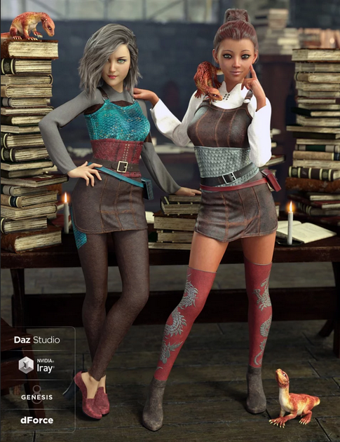 Two women standing in front of a desk with piles of books on it, small dragons and a candle, wearing Daz3D Dragon Sitter Outfit