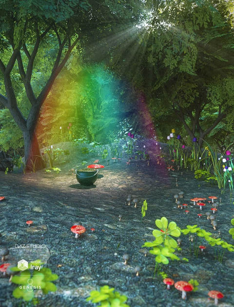A beautiful mystical forest scene showing a pot of gold at the end of a rainbow, surrounded by toadstools and pretty flowers, in honour of Saint Patrick's Day
