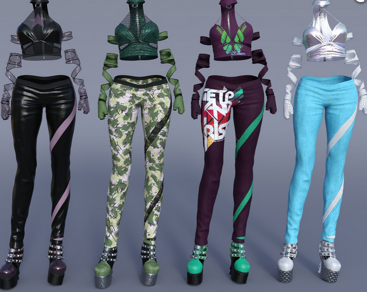 Image shows the four additional textures offered as part of the Charmer Outfit Texture Pack for Genesis 8 Female