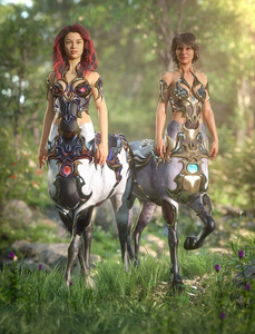 Image shows two female centaurs, wearing the Forest Queen Outfit Textures by Moonscape Graphics for Centaur Female 8 for Daz3D.