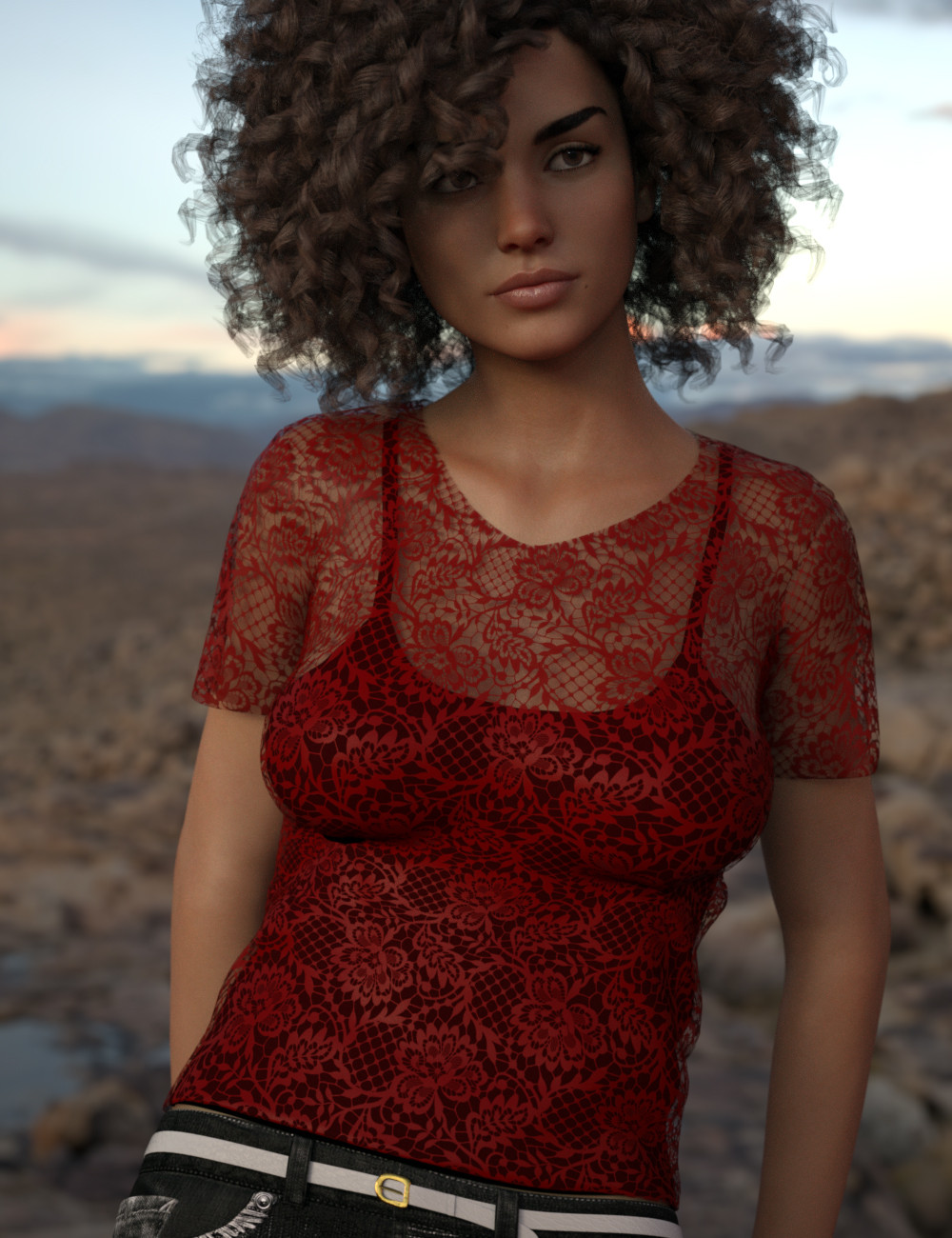 3d render of a woman with curly hair wearing a red lace tshirt
