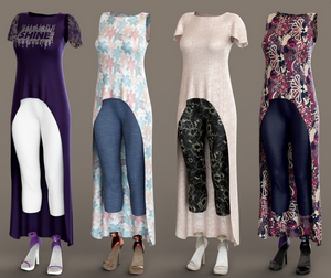 Image shows the four additional outfits for the Daz3D dForce Pretty Stylish Outfit from Daz3D.