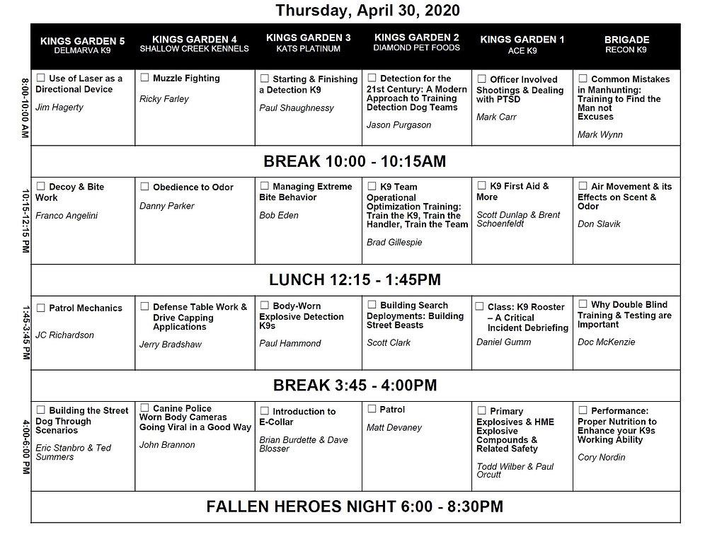 Class schedule - Thursday.tif
