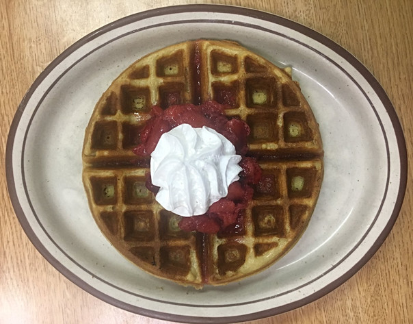 Waffle with Strawberries & Whipped Cream