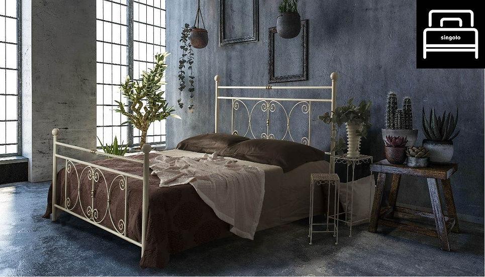 Balaton letto singolo in ferro battuto avorio anticato