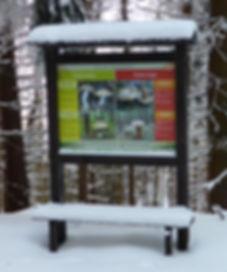 Tablica z grzybami na drodze Stanisława