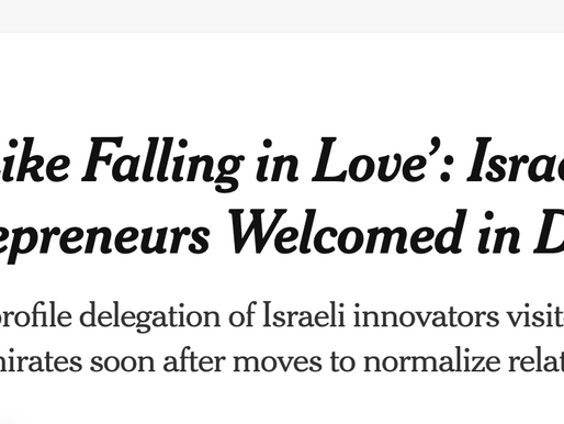 NYT, WSJ cover new Israel-UAE ties, new trade and innovation opportunities