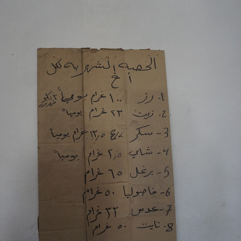 A list of food stuff list is hanged on the wall inside the church which explains the share of each IS member such as rice, cooking oil, tomato paste, peas, lentil, washing powder, sugar. (Ali Y. Al-Baroodi)