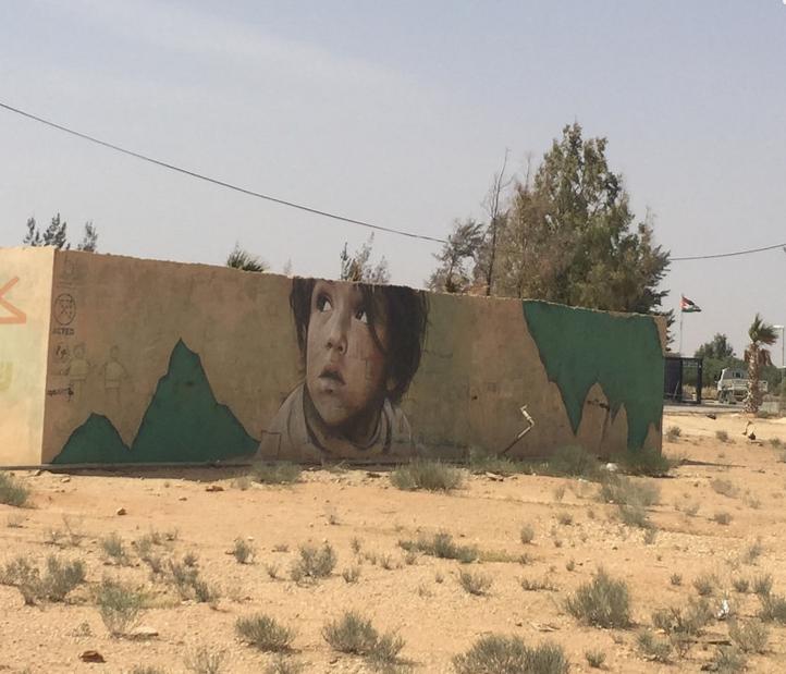 Near Za'atari refugee camp, refugee art