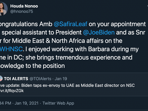 Bahrain's Houda Nonoo congratulates Barbara Leaf on Biden appointment