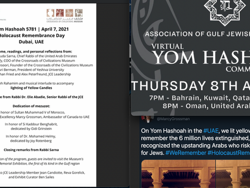Outpouring of commemoration for Yom HaShoah (Holocaust remembrance) in the Gulf