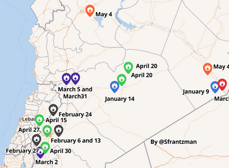 Map of recent airstrikes on Syria
