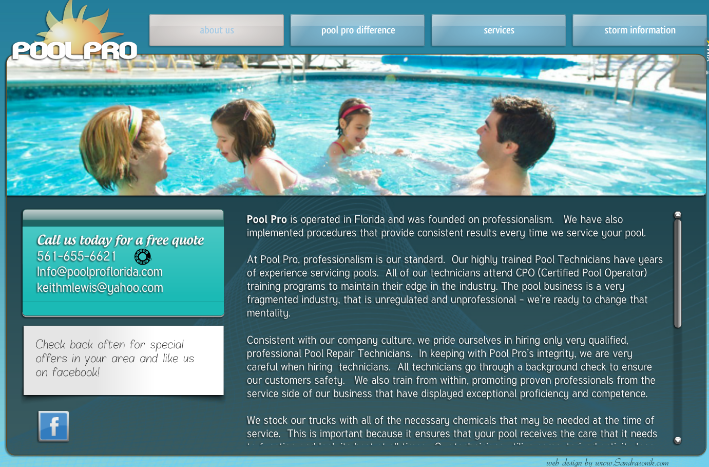 first website for Pool Pro Inc.