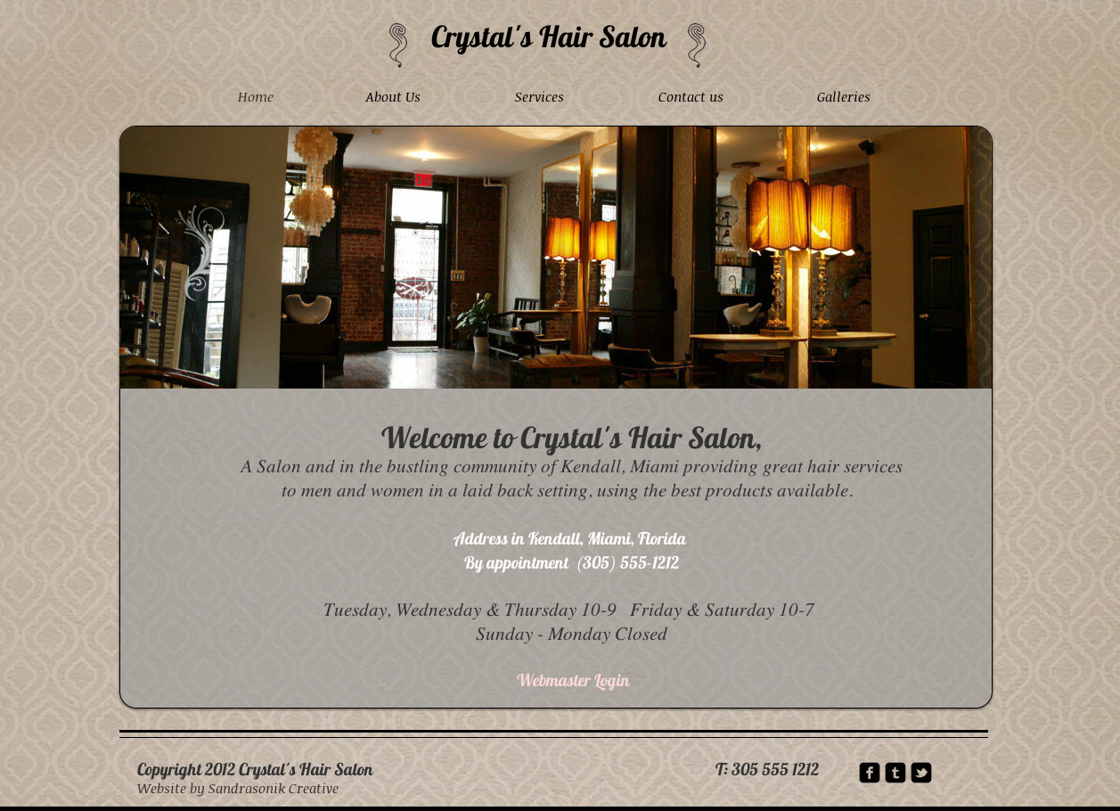 website concept for Crystals Hair