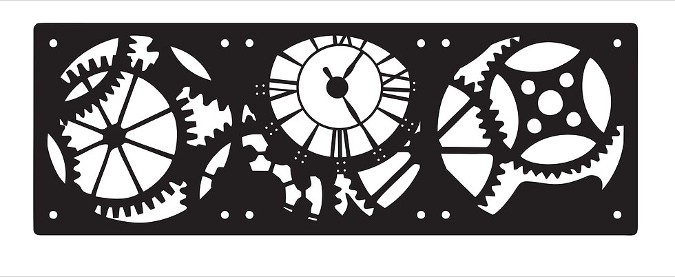 Cog and Clock single layer  Design 120mm X 360mm Fan Grill