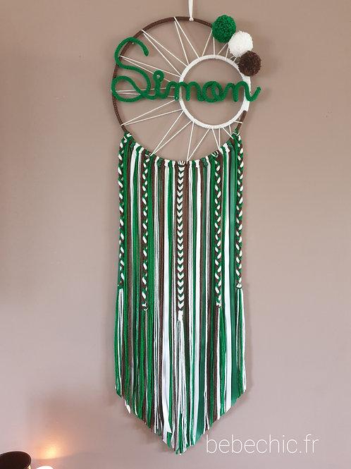Attrape rêves personnalisé prénom, vert, blanc et marron