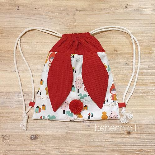 Sac à dos Pochon pour enfant, modèle Lapinou, chaperon rouge