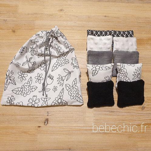 Coussins sensoriels lot de 5 paires Noir & Blanc
