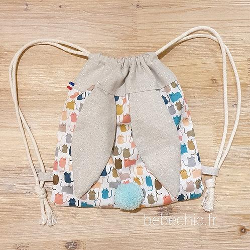 Sac à dos Pochon pour enfant, modèle Lapinou, couleur petit chat