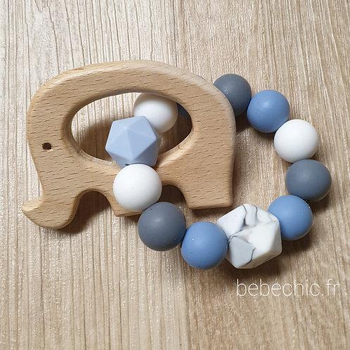Anneau de dentition Eléphant silicone, bleu, gris, blanc