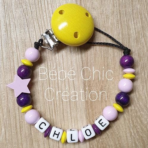 Attache sucette prénom personnalise, étoile, jaune, rose et violet
