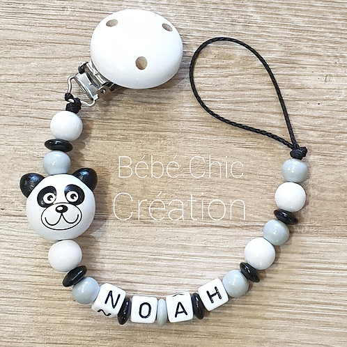 Attache sucette prénom personnalise Panda