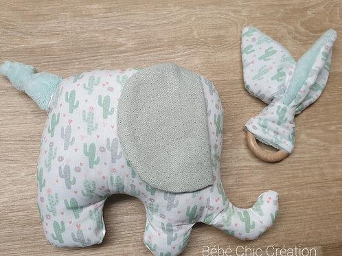 Doudou Elephant couleur cactus vert d'eau