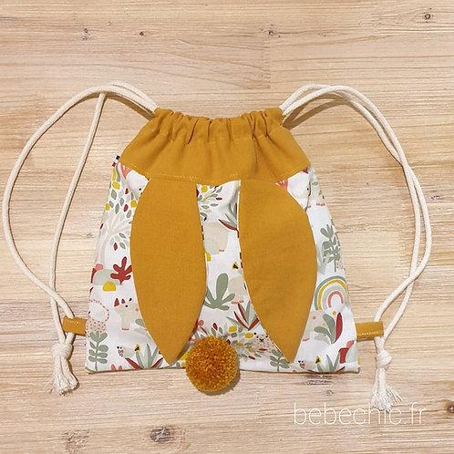Sac à dos Pochon pour enfant, modèle Lapinou, couleur éléphant arc-en-ciel