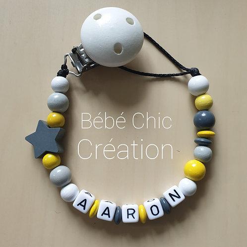 Attache sucette prénom personnalise Anthracite, jaune, gris et blanc