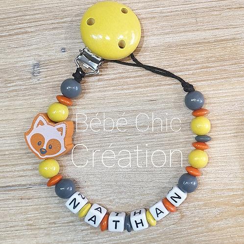 Attache sucette prénom personnalise Orange, jaune et anthracite