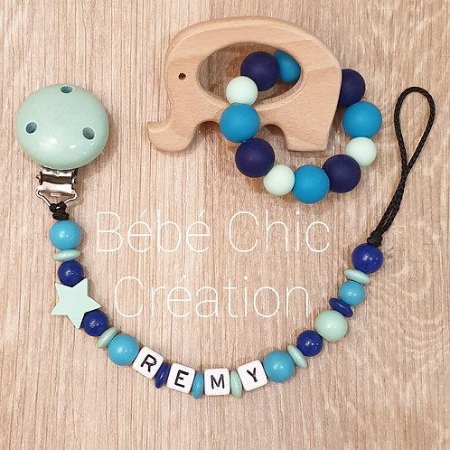 Attache sucette prénom personnalise, Menthe, bleu roi et turquoise