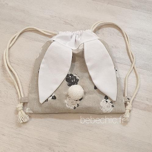 Sac à dos Pochon pour enfant, modèle mouton noir et blanc